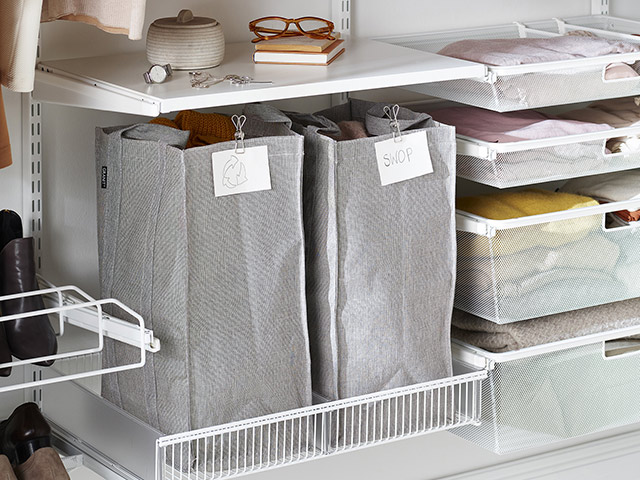 Elfa storage solution sorting clothes