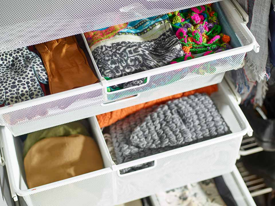 Elfa storage solution mesh drawer divider
