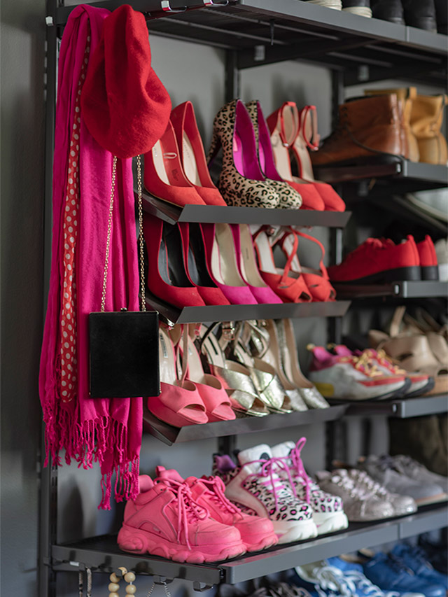 A close up of the shoe shelves