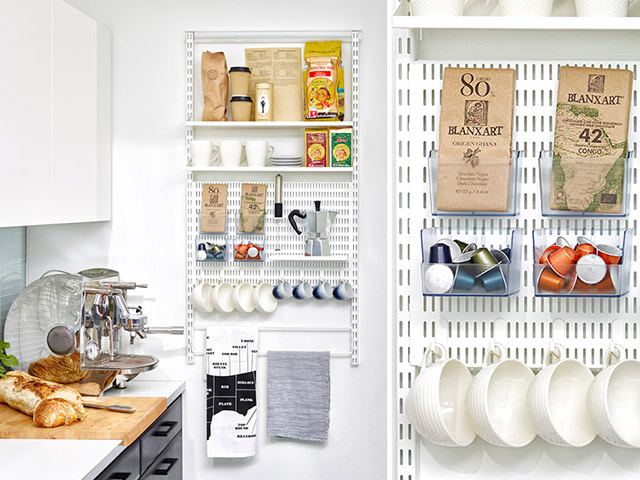 Elfa storage solution compact kitchen