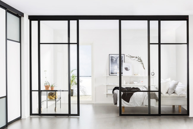 Elfa top-hung sliding doors and room divider