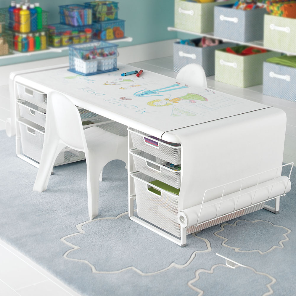 a childu0027s desk with a smart solution for drawing
