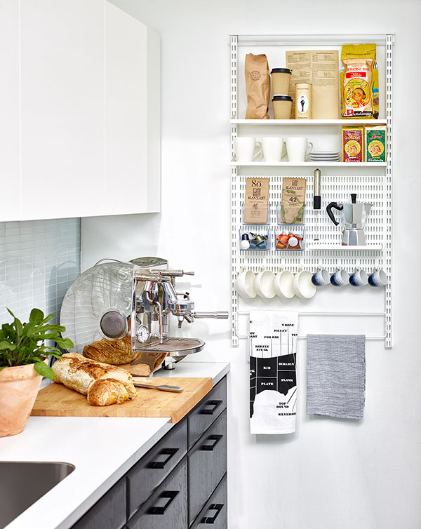 Narrow, wall-hanging storage with room for coffee, tea, towels gloves and other small items