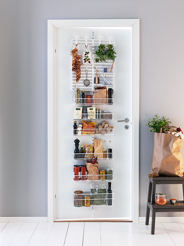 Door-hanging storage with herbs, spices and other foods