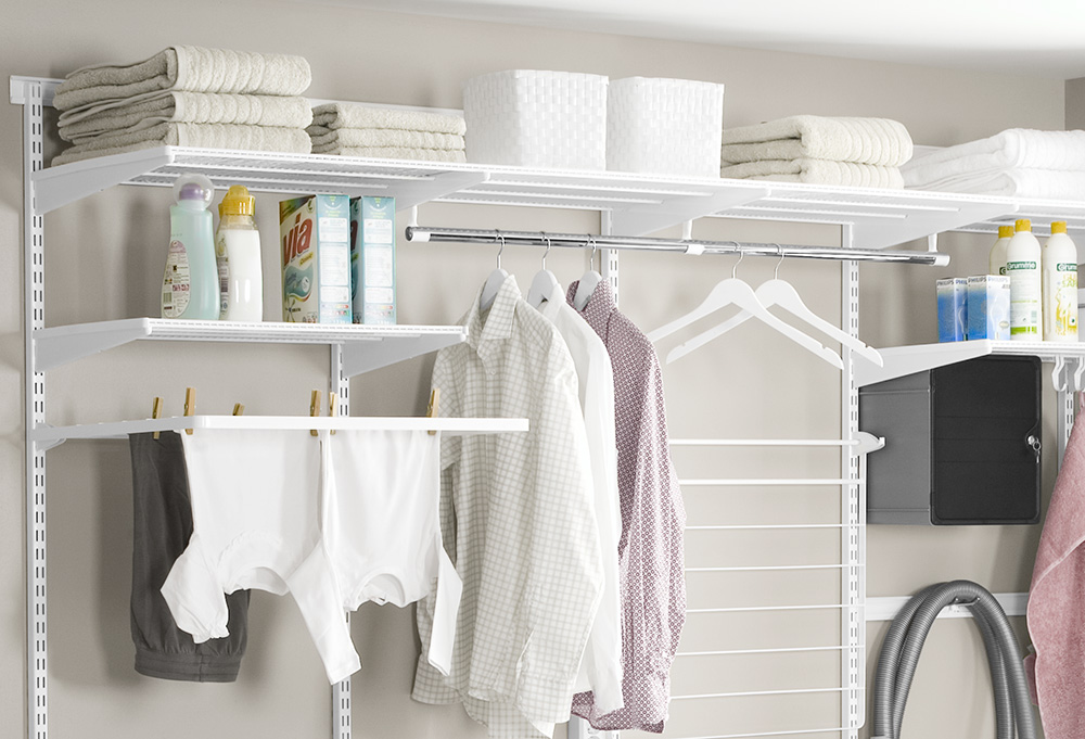 Practical wire shelves in the laundry room