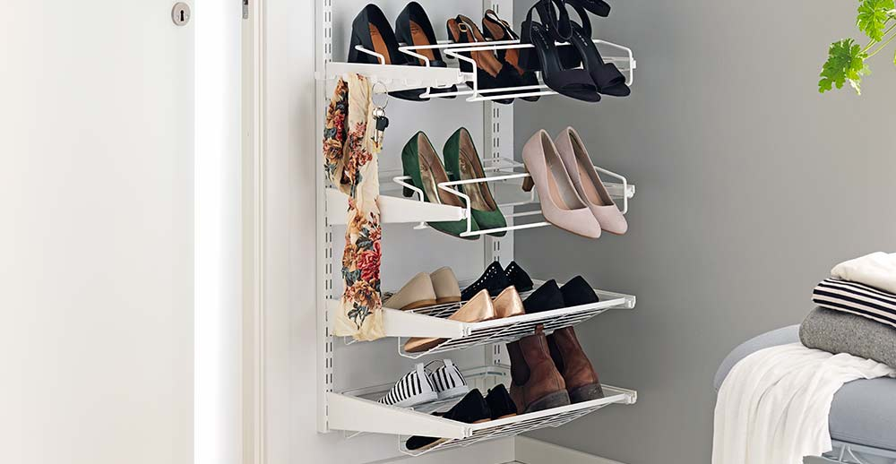 Shoe shelves on the wall for confined and narrow spaces