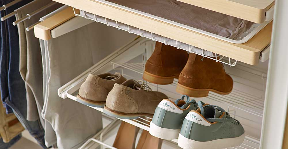 Shoe storage in wardrobes that glides in an out