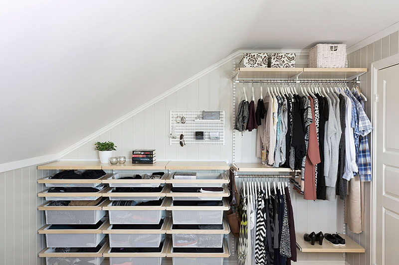 Storage under a sloping ceiling or stairs