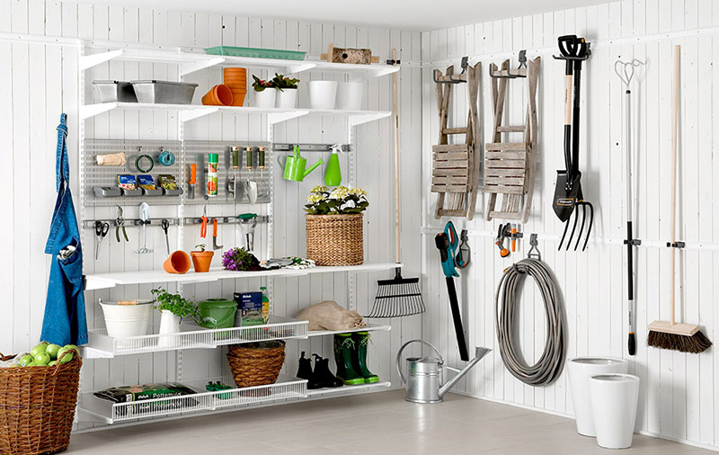 Storage solutions for garden tools in a storeroom or garage