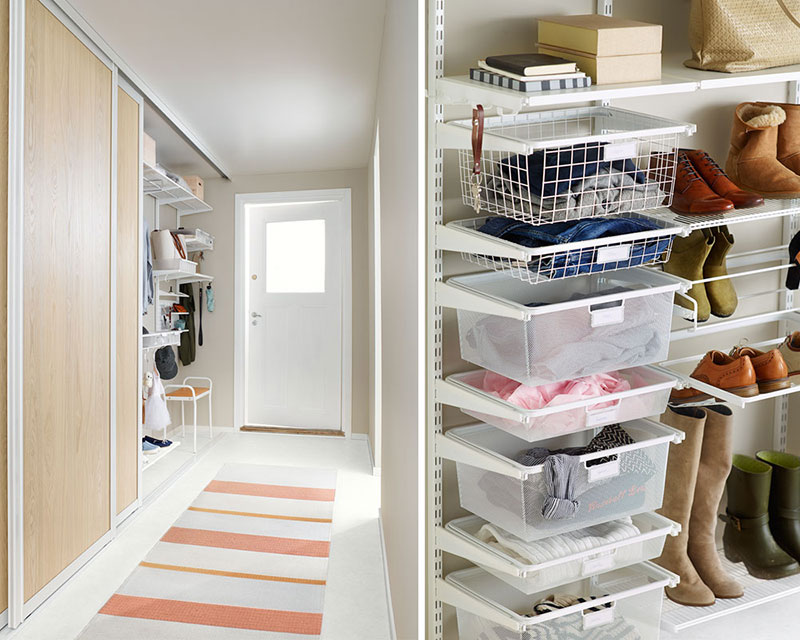 Storage in narrow hall with gliding drawer functions