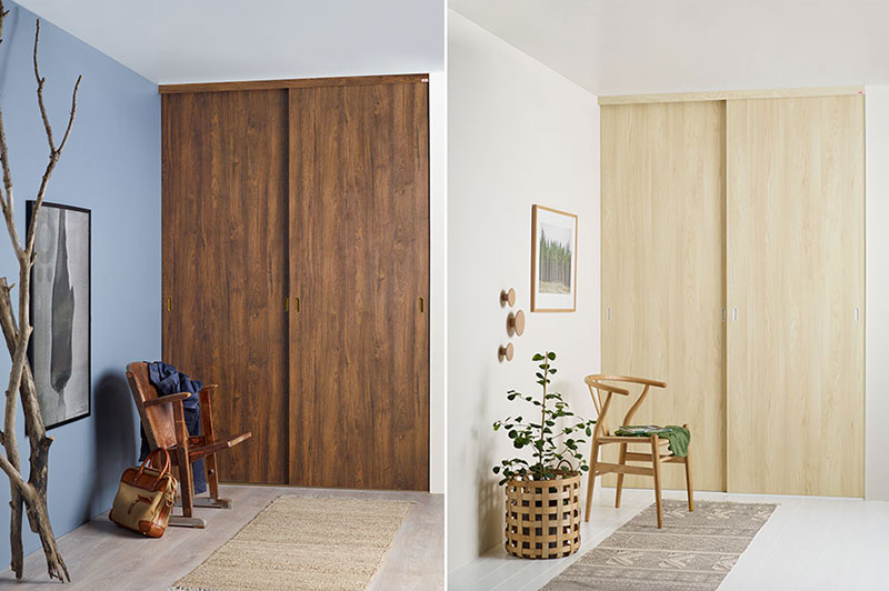 Sliding doors with a wooden look