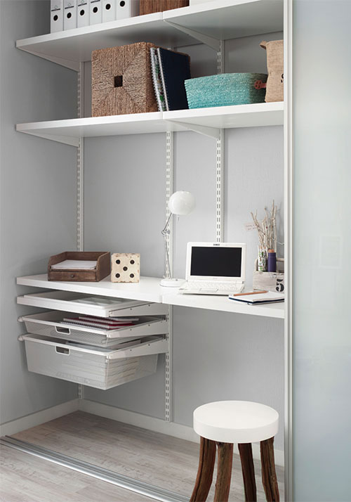 A home office in a small space that can be concealed